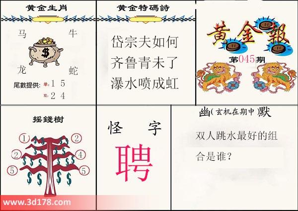 3d第2020045期黄金报推荐黄金生肖:马牛龙蛇