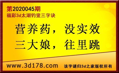 3d第2020045期太湖图库解字谜:营养药,没实效