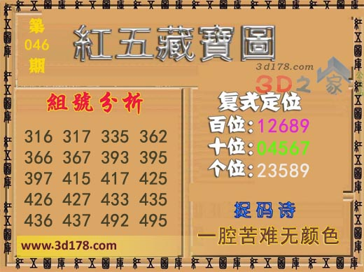 3d第2020046期红五藏宝图推荐十位:04567