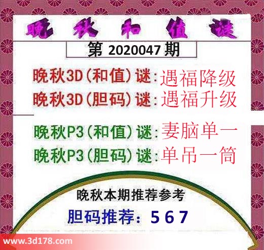 3d红五晚秋图第2020047期和值谜:遇福降级