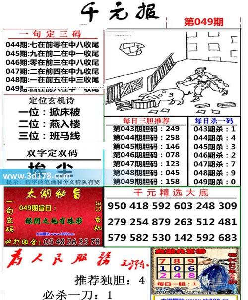 布衣千元报3d第2020049期推荐每日杀一码:0