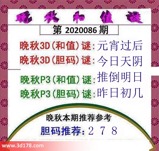 3d红五晚秋图第2020086期胆码推荐:278