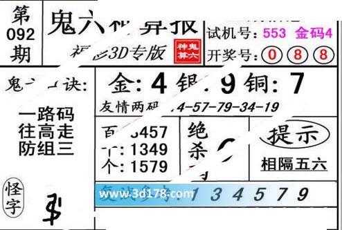 鬼六神算报3d第2020092期推荐复式参考:134579