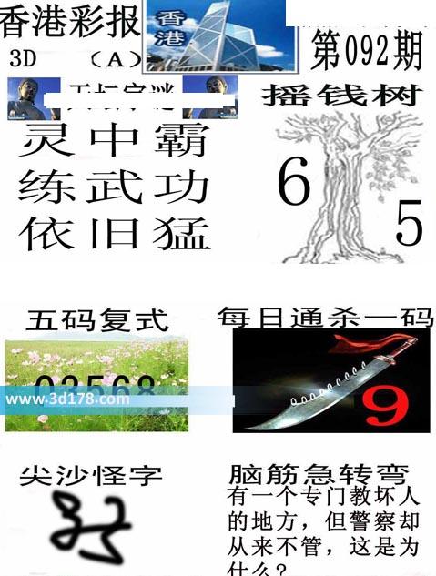 香港彩报3d第2020092期每日通杀一码:9