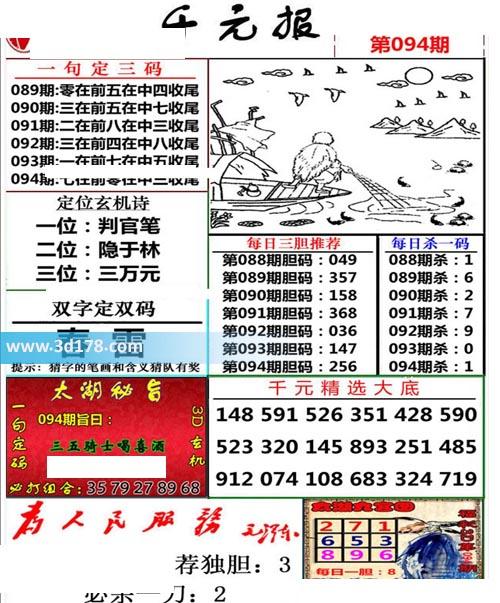 布衣千元报3d第2020094期每日杀一码:1