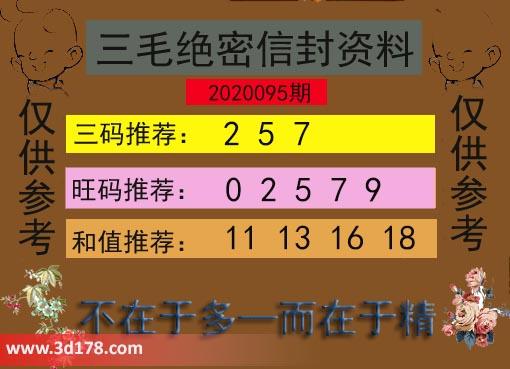 3d第2020095期三毛绝密信封资料图旺码推荐:02579