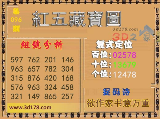 3d第2020096期红五藏宝图推荐十位:13679