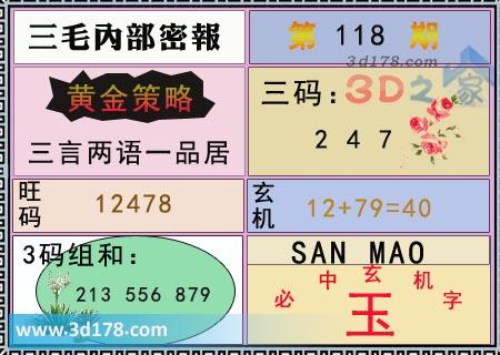 第2020118期3d三毛内部密报旺码推荐:12478