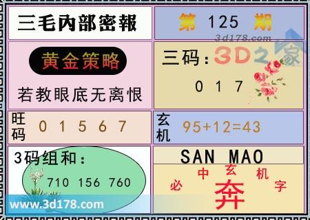 第2020125期3d三毛内部密报三码推荐:017
