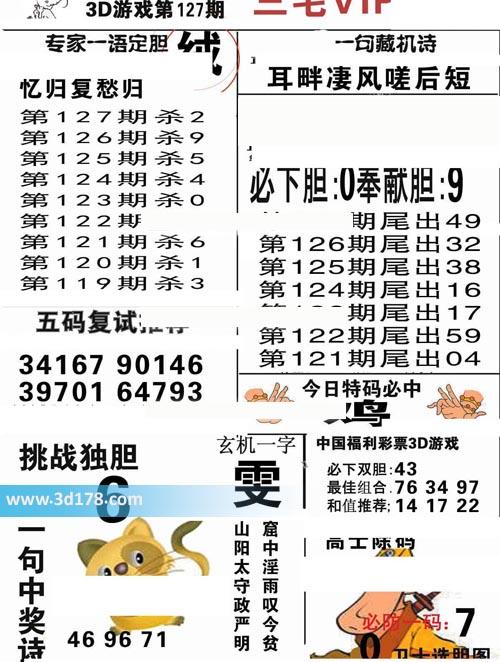 三毛图库3d第2020127期推荐挑战独胆:6