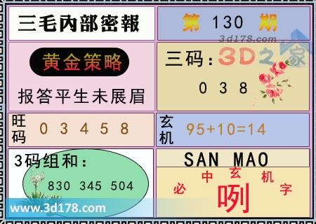 第2020130期3d三毛内部密报旺码推荐:03458