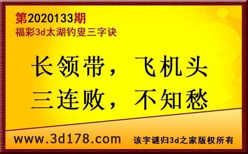 3d第2020133期太湖图库解字谜:长领带,飞机头