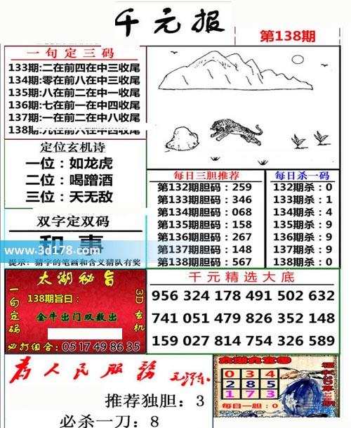 布衣千元报3d第2020138期推荐每日三胆推荐:567