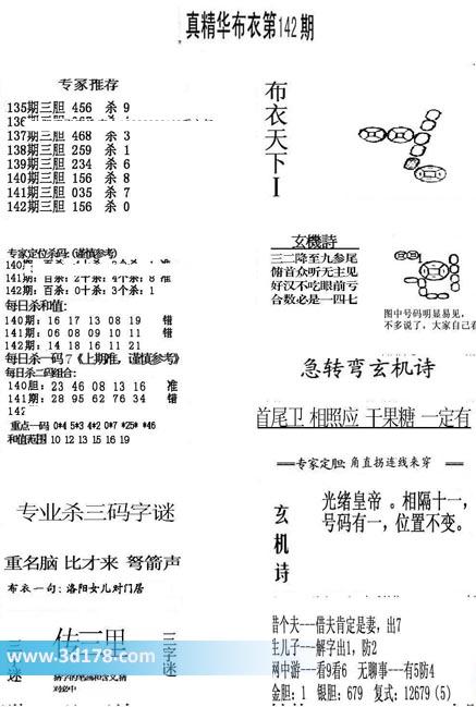 真精华布衣第2020142期推荐杀三码字谜:重名脑