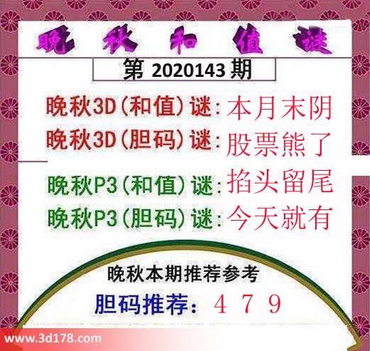 3d红五晚秋图第2020143期胆码值谜:479