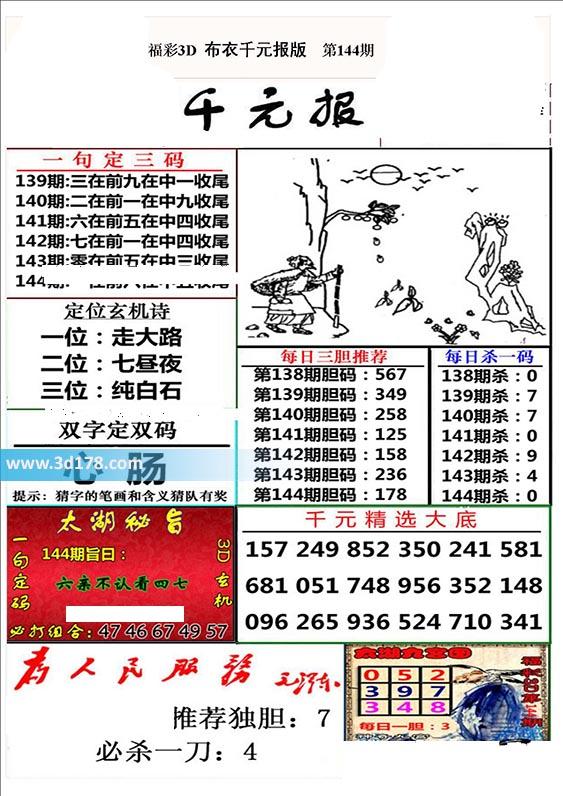 布衣千元报3d第2020144期推荐每日杀一码:0