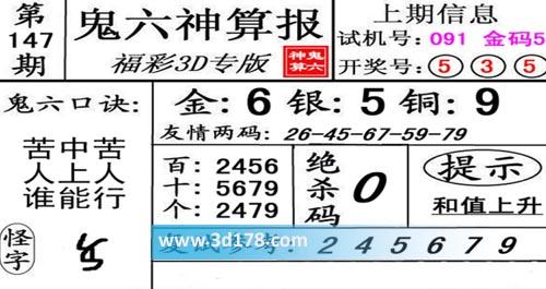 鬼六神算报3d第2020147期推荐绝杀码:0