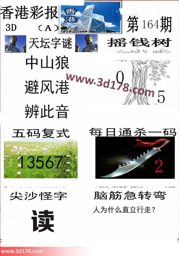 香港彩报3d第2020164期推荐摇钱树:0 5