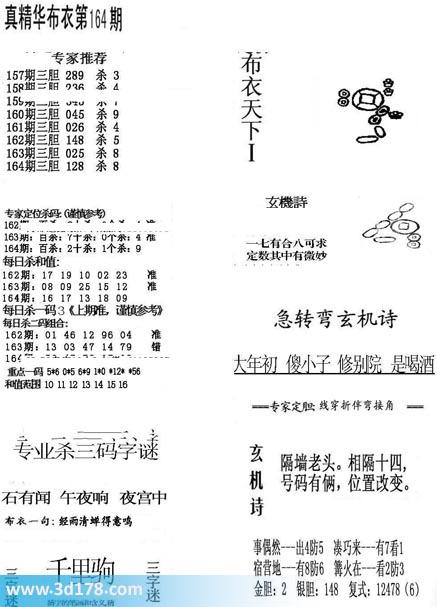真精华布衣第2020164期推荐杀一码:8