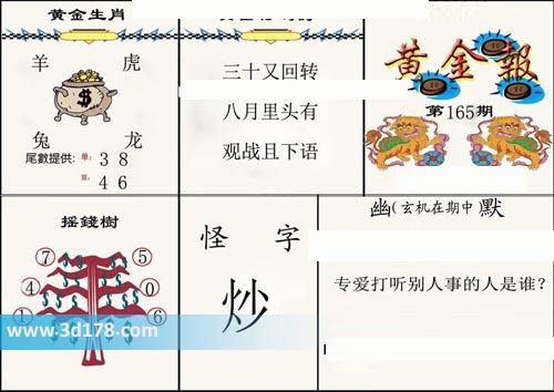 3d第2020165期黄金报尾数推荐黄金生肖:羊虎兔龙