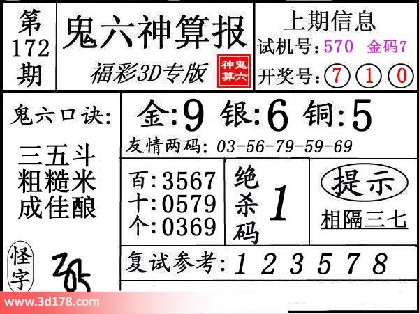 鬼六神算报3d第2020172期推荐金胆:9