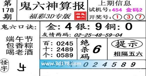 鬼六神算报3d第2020178期推荐鬼六口诀:端午节