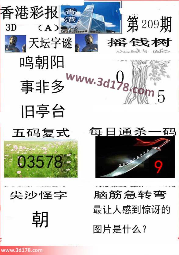 香港彩报3d第2020209期五码复式:03578