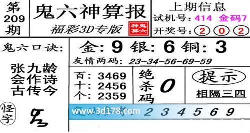 鬼六神算报3d第2020209期推荐复式参考:234569
