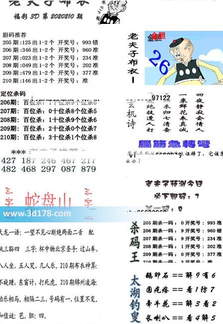 老夫子布衣图3d第2020210期推荐:百位杀3