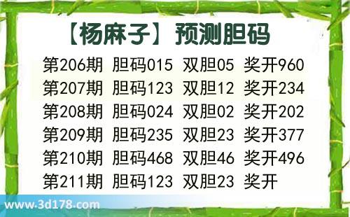 杨麻子胆码图3d第2020211期推荐:胆码123