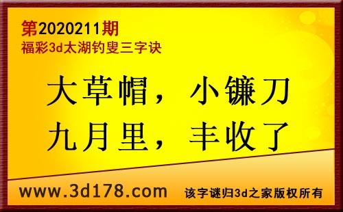 3d第2020211期太湖图库解字谜:大草帽,小镰刀