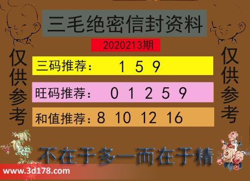 3d第2020213期三毛绝密信封资料图三码推荐:159