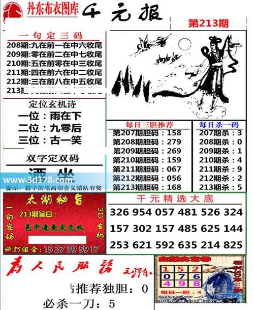 布衣千元报3d第2020213期推荐定位玄机诗:古一笑
