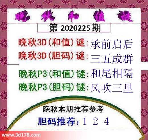 3d红五晚秋图第2020225期胆码推荐:124