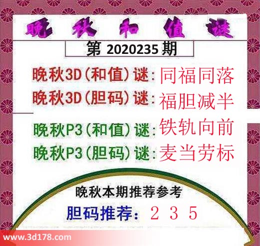 3d红五晚秋图第2020235期胆码推荐:235