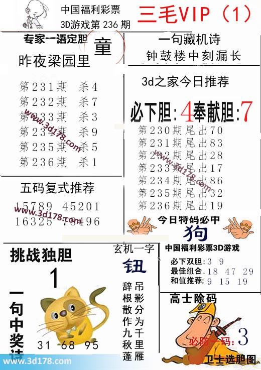 三毛图库3d第2020236期推荐:奉献胆7