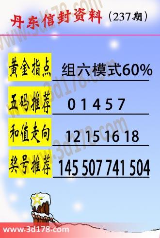 丹东信封资料图3d第2020237期五码推荐:01457