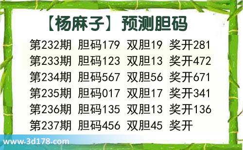杨麻子胆码图3d第2020237期推荐:胆码456
