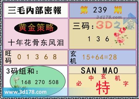第2020239期3d三毛内部密报旺码推荐:01368
