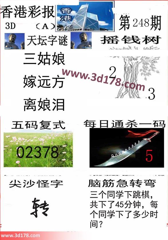 香港彩报3d第2020248期每日通杀一码:5