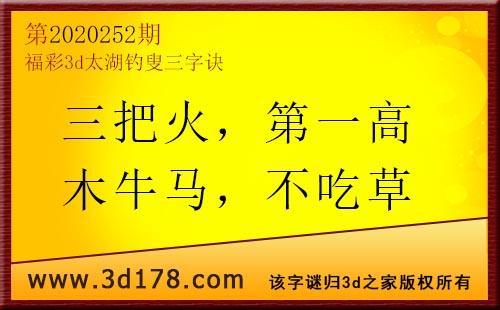3d第2020252期太湖图库解字谜:三把火,第一高