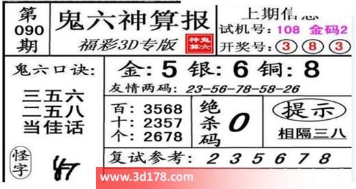 鬼六神算报3d第2021090期推荐绝杀码:0
