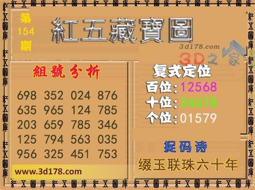 红五藏宝图3d第2021154期推荐百位:12568