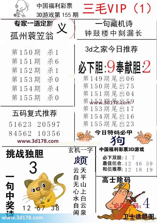 三毛图库3d第2021155期推荐奉献胆:2