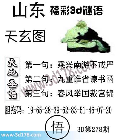 3d第2021278期丹东天玄图第二句:九重谁省谏书函