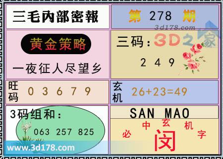 第2021278期3d三毛内部密报三码推荐:249