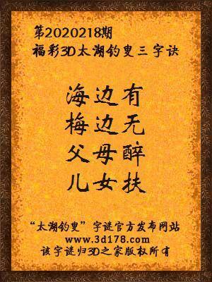 福彩3d第2020218期太湖钓叟三字诀